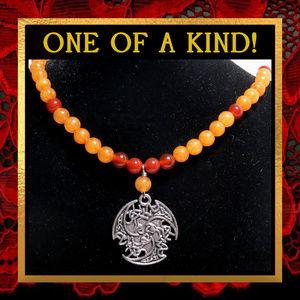 Dragon Wing Orange Gemstone Necklace #568